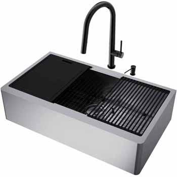 36'' Sink w/ Greenwich Faucet in Matte Black