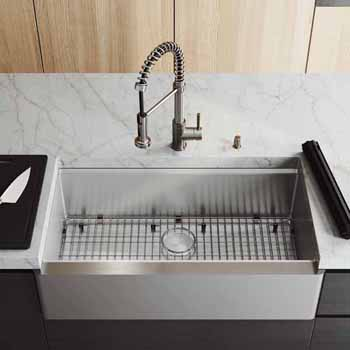 36'' Sink w/ Edison Faucet in Stainless Steel