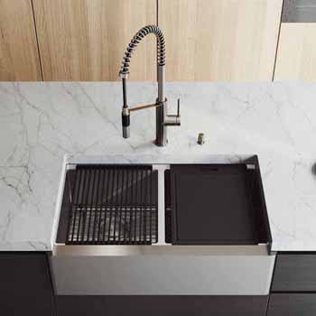 33'' Sink w/ Livingston Faucet in Stainless Steel