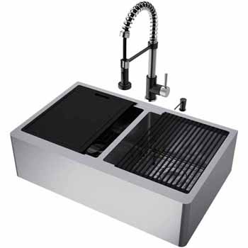 33'' Sink w/ Edison Faucet in Stainless Steel/Matte Black
