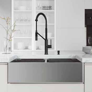 36'' Sink w/ Black Livingston Faucet in Matte Black