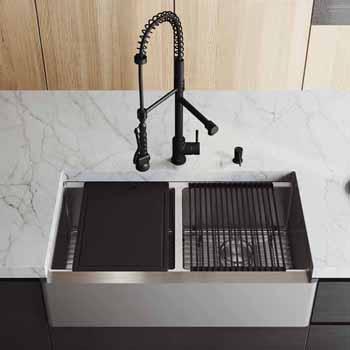 33'' Sink w/ Greenwich Faucet in Matte Black