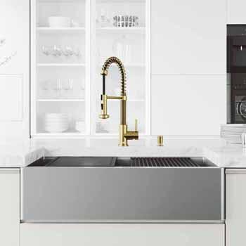 36'' Sink w/ Edison Faucet in Matte Gold