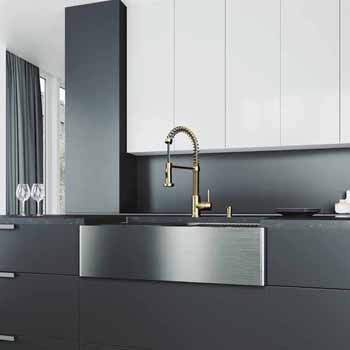 33'' Sink w/ Edison Faucet in Matte Brushed Gold