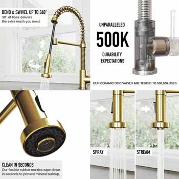 Edison Faucet in Matte Brushed Gold Features 1