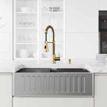 33'' Sink w/ Brant Faucet in Matte Gold