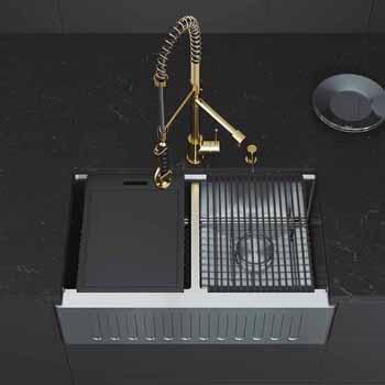 33'' Sink w/ Zurich Faucet in Matte Gold