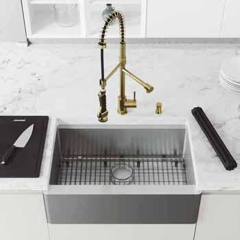 30'' Sink w/ Zurich Faucet in Matte Gold