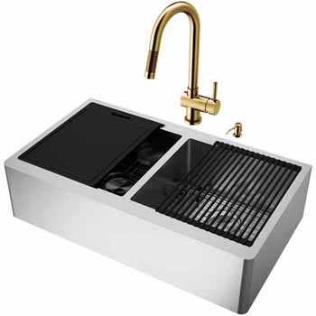 36'' Sink w/ Gramercy Faucet in Matte Brushed Gold