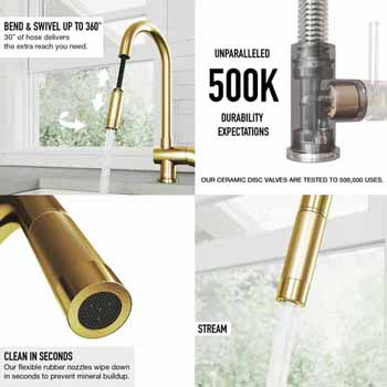 Gramercy Faucet in Matte Brushed Gold Features 1