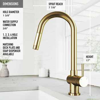 Gramercy Faucet in Matte Brushed Gold Dimensions