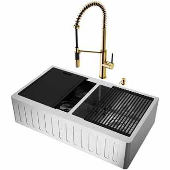 36'' Sink w/ Livingston Faucet in Matte Gold