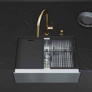 30'' Sink w/ Greenwich Faucet in Matte Gold