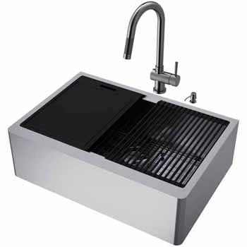 30'' Sink w/ Gramercy Faucet in Graphite Black
