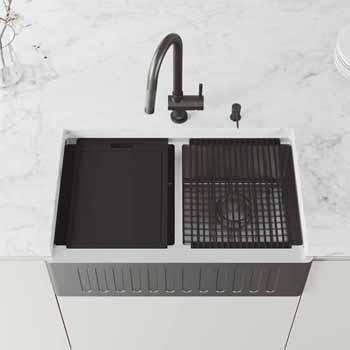 33'' Sink w/ Gramercy Faucet in Graphite Black