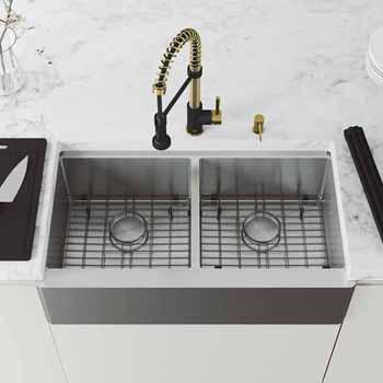 36'' Sink w/ Edison Faucet in Matte Brushed Gold/Matte Black