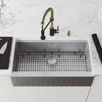 36'' Sink w/ Edison Faucet in Matte Gold/Matte Black
