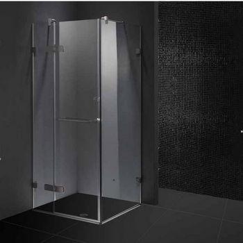 "Vigo 36"" x 36"" Frameless 3/8"" Clear/Brushed Nickel Shower Enclosure"