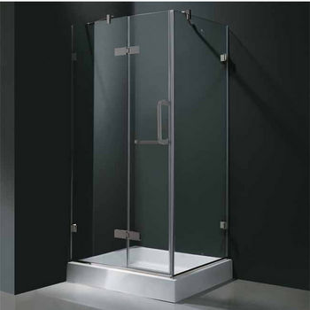 "Vigo 36"" x 36"" Frameless 3/8"" Clear/Brushed Nickel Shower Enclosure with Base"