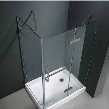 "Vigo 32"" x 48"" Frameless 3/8"" Clear/Brushed Nickel Shower Enclosure with Left Base"