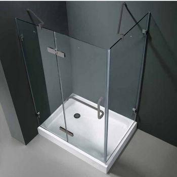 "Vigo 32"" x 40"" Frameless 3/8"" Clear/Brushed Nickel Shower Enclosure with Left Base"