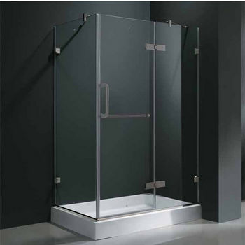 "Vigo 32"" x 48"" Frameless 3/8"" Clear/Brushed Nickel Shower Enclosure with Right Base"