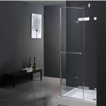"Vigo 36"" x 36"" Frameless 3/8"" Clear/Chrome Shower Enclosure with Base"