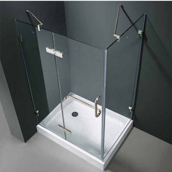 "Vigo 32"" x 48"" Frameless 3/8"" Clear/Chrome Shower Enclosure with Left Base"