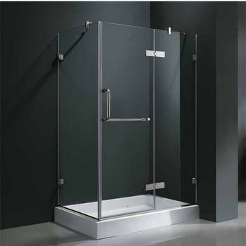 "Vigo 32"" x 48"" Frameless 3/8"" Clear/Chrome Shower Enclosure with Right Base"