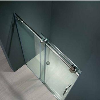 """Vigo 48-inch Frameless Shower door 3/8"""" Clear Glass Chrome Hardware"""