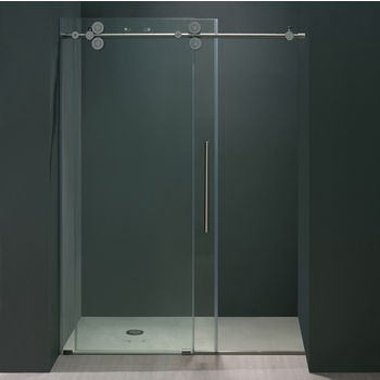 Vigo 52'' Frameless Shower Door 3/8'' Thick Clear Tempered Glass and Chrome Hardware, 27-3/4'' W Door Size x 74'' Door Height