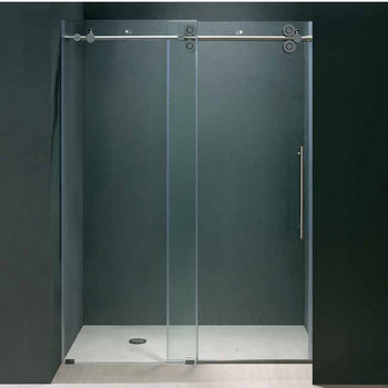 "Vigo 60-inch Frameless Shower door 3/8"" Clear Glass Chrome Hardware"