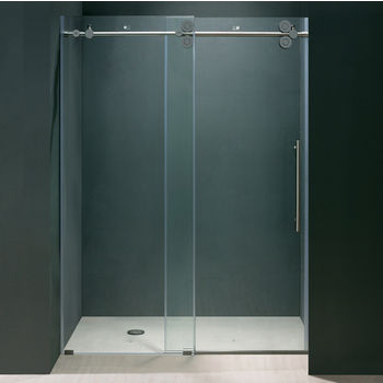 Vigo 64'' Frameless Shower Door 3/8'' Thick Clear Tempered Glass and Chrome Hardware, 33-5/8'' W Door Size x 74'' Door Height