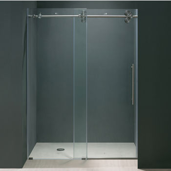 Vigo 52'' Frameless Shower Door 3/8'' Thick Clear Tempered Glass and Stainless Steel Hardware, 27-3/4'' W Door Size x 74'' Door Height