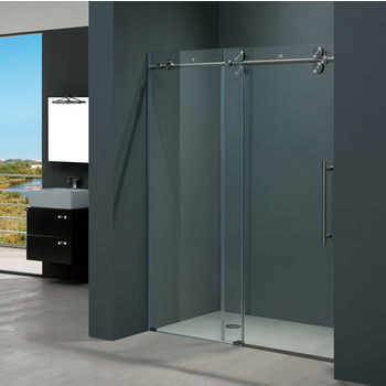 Vigo 56'' Frameless Shower Door 3/8'' Thick Clear Tempered Glass and Stainless Steel Hardware, 29-3/4'' W Door Size x 74'' Door Height
