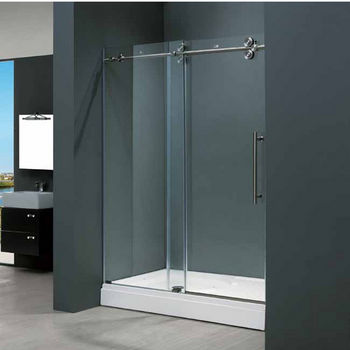 "Vigo 60-inch Frameless Shower door 3/8"" Clear Glass Stainless Steel Hardware"