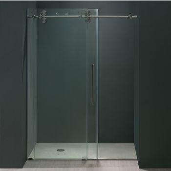 Vigo 64'' Frameless Shower Door 3/8'' Thick Clear Tempered Glass and Stainless Steel Hardware, 33-5/8'' W Door Size x 74'' Door Height