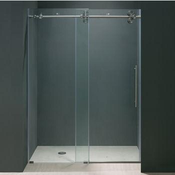 Vigo 68'' Frameless Shower Door 3/8'' Thick Clear Tempered Glass and Stainless Steel Hardware, 35-5/8'' W Door Size x 74'' Door Height