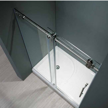"Vigo 72-inch Frameless Shower door 3/8"" Clear Glass Stainless Steel Hardware"