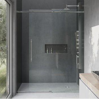 VIGO Luca 60-inch Frameless Shower Door with Clear Glass and Chrome Hardware