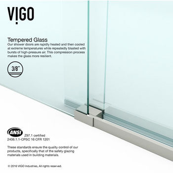 VIGO Luca 60-inch Frameless Shower Door with Clear Glass and Stainless Steel Hardware