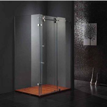 "Vigo 36"" x 48"" Frameless 3/8"" Clear/Stainless Steel Shower Enclosure"