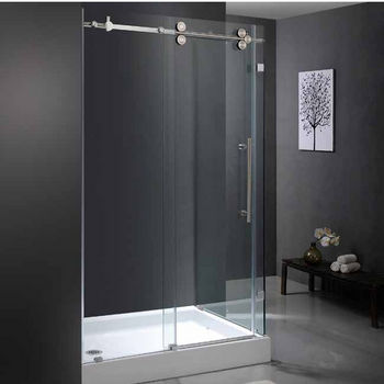"Vigo 36"" x 48"" Frameless 3/8"" Clear/Stainless Steel Shower Enclosure with Left Base"