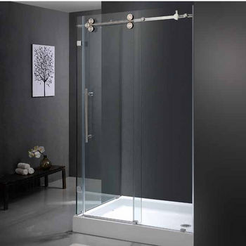 "Vigo 36"" x 48"" Frameless 3/8"" Clear/Stainless Steel Shower Enclosure with Right Base"