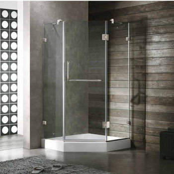 "Vigo 36"" x 36"" Frameless Neo-Angle 3/8"" Clear/Brushed Nickel Shower Enclosure with White Base"