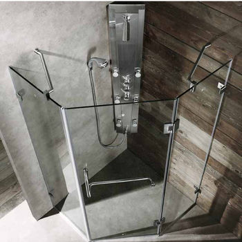"Vigo 38"" x 38"" Frameless Neo-Angle 3/8"" Clear/Brushed Nickel Shower Enclosure"