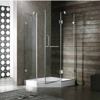 "Vigo 38"" x 38"" Frameless Neo-Angle 3/8"" Clear/Brushed Nickel Shower Enclosure with White Base"