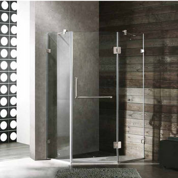 "Vigo 40"" x 40"" Frameless Neo-Angle 3/8"" Clear/Brushed Nickel Shower Enclosure"