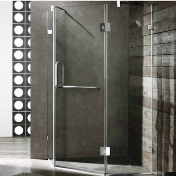 "Vigo 38"" x 38"" Frameless Neo-Angle 3/8"" Clear/Chrome Shower Enclosure"