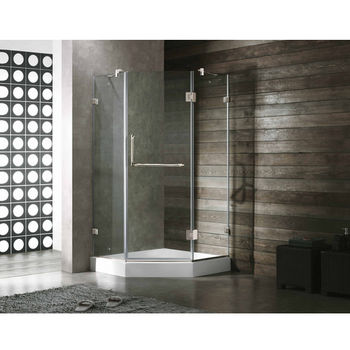 "Vigo 38"" x 38"" Frameless Neo-Angle 3/8"" Clear/Chrome Shower Enclosure with White Base"